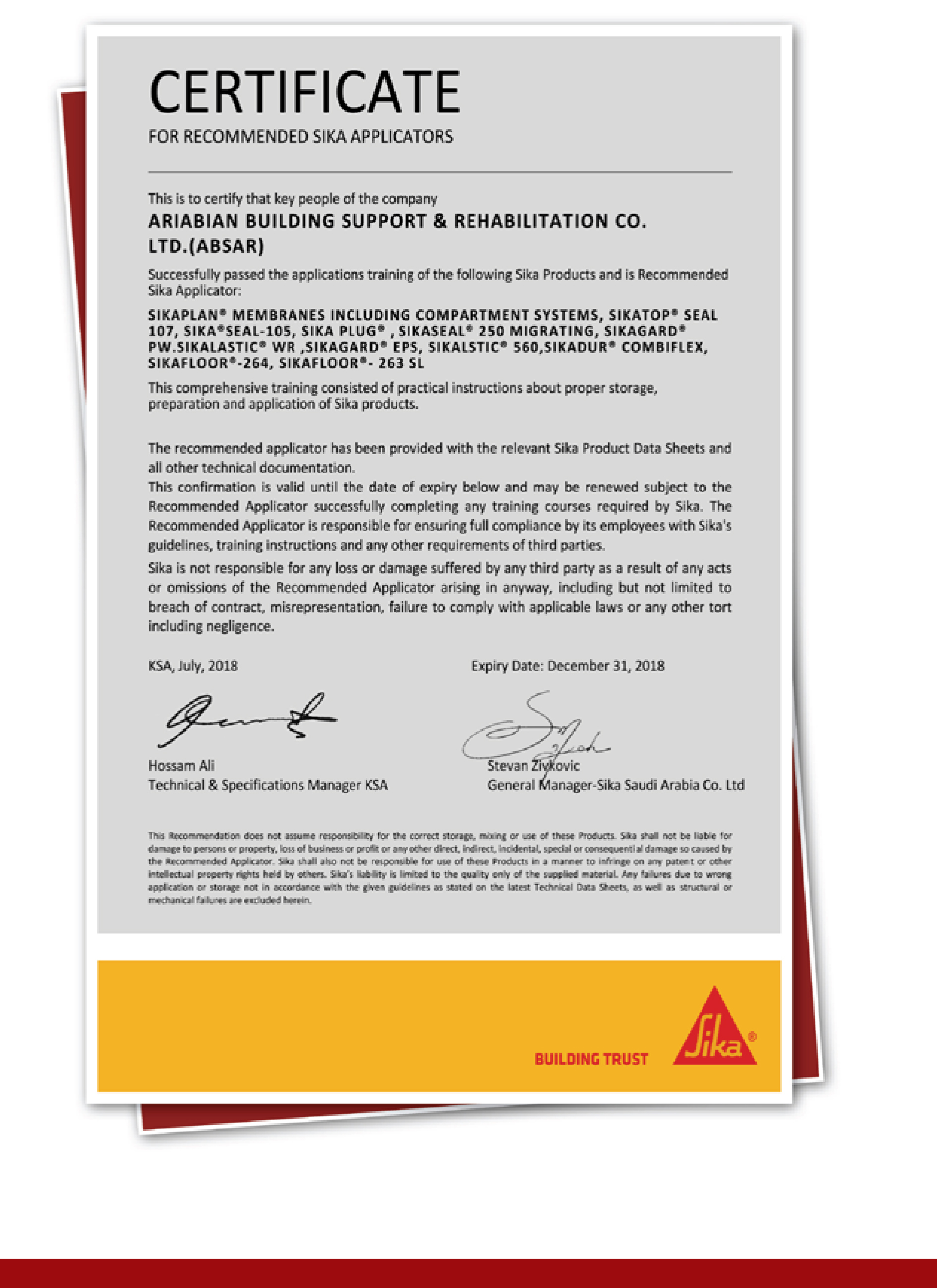 Certificates - Absar